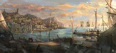 Carribean port Cristian Chihaia Fantasy art landscapes Fantasy landscape Fantasy city