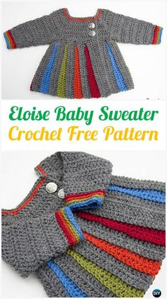 Crochet Eloise Baby Sweater Free Pattern - #Crochet Kid's Sweater Coat Cardigan Free Patterns