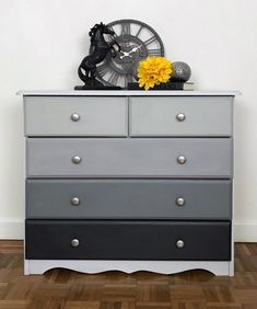 "Multi-tone grey chest of drawers, hand painted in ""Dove"", ""Cloudburst"" and ""Nightfall"" and own mix of grey chalk paint by Vintro and clear waxed to protect. The original handles have been replaced with nickel round handles. Chest Of Drawers Upcycle, Grey Chest Of Drawers, Chest Of Drawers Makeover, Set Of Drawers, Grey Bedroom Furniture, Paint Furniture, Furniture Projects, Furniture Makeover, Bedroom Decor"
