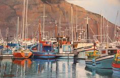 'Trawlers at Hout Bay' Western Cape - oil South African Artists, John Smith, Watercolor, Gallery, Cape, Artisan, Paintings, Oil, Pen And Wash