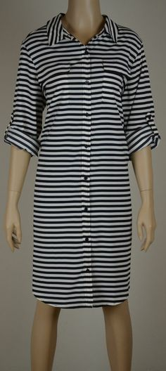NWT Calvin Klein Black and Cream Striped Button Down T Shirt style Dress size L ONLY 34.99 with FREE SHIPPING