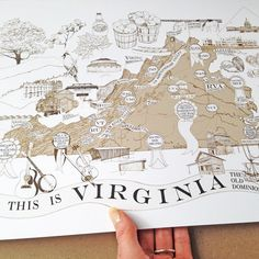 A Map of VIRGINIANA Art Print Virginia by turnofthecenturies