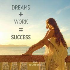 Dreams + Work = Success - 🙌  https://vno.jeunesseglobal.com/en-US/  www.jeunesselt.com   #quotes #success #jeunesse  #possibility  #positive  #jeunesseglobal  #lifeisbeautiful  #lifeisbeautiful  #successquotes #life  #homebusiness #business #questions #answers #world #pearls #worldtravel
