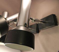 70er Jahre Strahler Wandlampe Lampe Chrome Tube & Black 70s Wall Lamp Spot Super