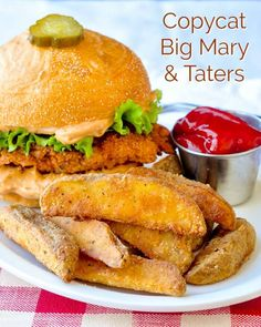 Copycat Big Mary Chicken Sandwich and Taters. A great homemade copycat recipe for a well loved chicken sandwich from Mary Browns Famous Chicken and Taters.