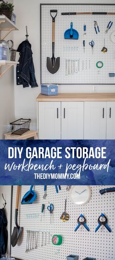 Instructions to build a framed pegboard wall and work bench from Ikea kitchen cabinets to create custom garage storage | thediymommy.com