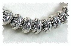 Native American Sterling Silver Bead Necklace Stamped 9 mm Beads Marie Yazzie Navajo