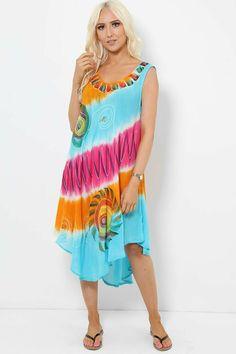 Tie Dye Sleeveless Midi Dress Asymmetric Boho Hippie Festival Beach Multi Colour #Unbranded #KaftanBeachDress #AnyOccasion Hippie Festival, Boho Hippie, Boho Dress, Kaftan, Beachwear, Tie Dye, Colour, Summer Dresses, How To Wear