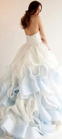 .white/blue gown...