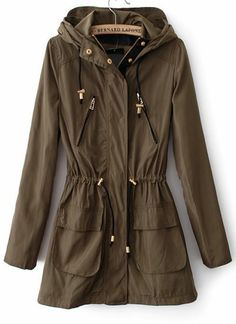 Army Green Hooded Long Sleeve Drawstring Trench Coat pictures