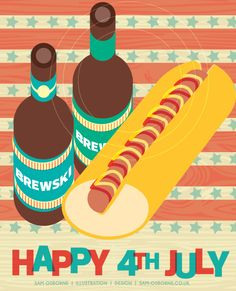 American Independence Day   July 4th   Illustration   USA   Beer   Hot Dogs