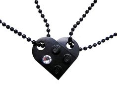 Black 2 piece customizable LEGO heart made from 2 LEGO plates with a Diamond color SWAROVSKI crystal on 2 Black ballchains, $15.99 #MademoiselleAlma #LEGO