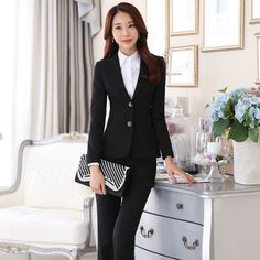 Good quality Career Women Long Sleeve 2-Button Blazers Jacket Pant Suit Business Office Lady Black Trousers Suits