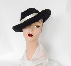 Vintage Fedora Hats | vintage fedora tilt hat womans black felt by TheVintageHatShop