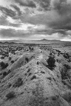 Georgia O'Keeffe on Evening Walk with her Dog, Ghost Ranch, by John Loengard, 1966