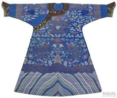 A blue-ground Dragon robe with fine embroidery decoration, China, late 19th century. Photo Nagel