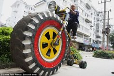 Bringing the good old Penny Farthing era to the fore-front again Li Lianzhi (welder by profession) from Guilin, China's southern Guangxi province, has created a bicycle with monstrous front wheel which makes it 2.7m long and 2m high. Putting almost 20 days and 7,000 Yuan (£690) this monster truck of the bicycle world is intimidating enough to make other automobiles on the road feel meager.