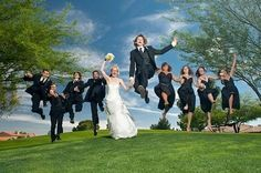 Jumping bridal party pictures need to be retired. Everyone's face looks like fireworks just shot up their butt...