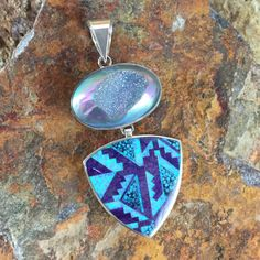 David Rosales Shalako Inlaid Fancy Sterling Silver Reversable Pendant w/ Druzy