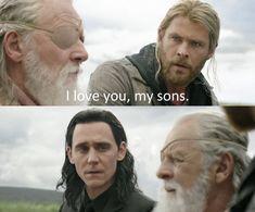 Loki is his son and Loki finally sees how his adoptive father sees him. This scene made me happy and sad at the same time Loki Thor, Loki Laufeyson, Tom Hiddleston Loki, Marvel Funny, Marvel Heroes, Marvel Movies, Marvel Avengers, Loki Sad