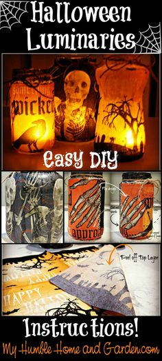 DIY Halloween luminaries can be made from glass condiment jars!  Complete instructions can be found on MyHumbleHomeandGarden.com