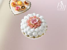 Cream Cake Decorated with Pink Biscuit de Reims by ParisMiniatures