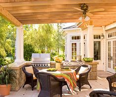 An outdoor kitchen will make your home the life of the party. Use our design ideas to help create the perfect space for your outdoor kitchen appliances. Outdoor Rooms, Outdoor Living, Outdoor Decor, Outdoor Kitchens, Outdoor Bars, Outdoor Showers, Outdoor Patios, Outside Furniture, Outdoor Furniture Sets