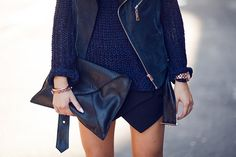 leather and navy