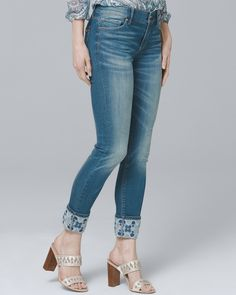 031e7b5eb374 Women s Embroidered-Cuff Skinny Crop Jeans by White House Black Market  Cropped Skinny Jeans