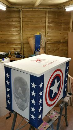 Bespoke Marvel Captain America halftone routed toy box. Spider man and Iron Man feature too. Www.pqpod.co.uk storage, storage box, toy box, Spiderman, Iron Man, Marvel, Captain America, toy storage, home decor, toy box, Carved toy box, carved storage box