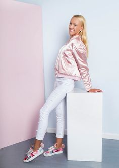 Reversible Bomber by Chantilli Collection features two side pockets on both sides, baseball collar, reversible, silver zip and ribbed cuffs and hem. Antique Roses, Bomber Jackets, Mother And Baby, White Jeans, Twins, Kids Fashion, Patches, Smooth, Peach