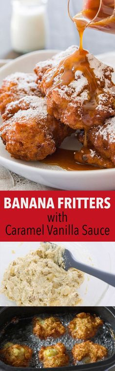 ice cream sandwich dessert recipe, fresh pineapple dessert recipes, low carb desserts recipes - These banana fritters are crisp on the outside and tender on the inside, loaded with big chunks of caramelized banana and served with vanilla caramel sauce. Banana Recipes, Donut Recipes, Fruit Recipes, Sweet Recipes, Dessert Recipes, Cooking Recipes, Plum Recipes, Diabetic Recipes, Banana Fritters