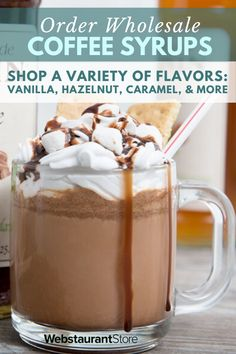 Use coffee flavoring syrup to add authentic taste to beverages! Choose from a variety of flavors & sugar free options! FAST shipping on flavored syrups! Coffee Drink Recipes, Alcohol Drink Recipes, Starbucks Recipes, Starbucks Drinks, Coffee Drinks, Coffee Syrups, Dessert Recipes, Desserts Diy, Dinner Recipes