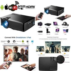 LED Home Theater Mini Android Projector 1500 Lumens LCD Movie Video USB SD Card #WEILIANTE