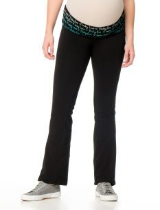 Motherhood Maternity Fold Over Belly Maternity Yoga Pants With Print Waistband