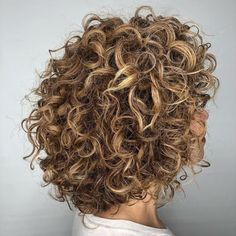 Curly Rounded Caramel Brown Bob