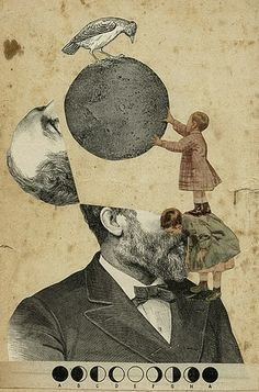 Moon in the head collage