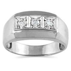 Marquee Jewels 10k Gold 1/4ct TDW Men's Diamond Ring