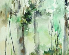Abstract Nature Landscape Original Watercolor Painting, Abstract Trees Nature Intuitive Watercolour Art