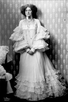 Emilie Floge, Gustaf Klimt's muse and model, wearing an Aesthetic Movement Dress, early 1900's