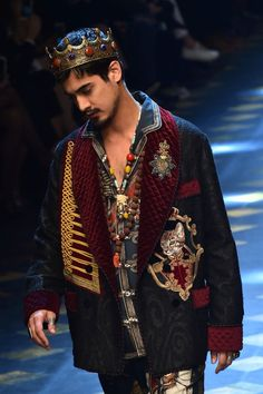 Avan Jogia walks the runway during the Dolce & Gabbana show as part of the Men's Fall-Winter 2017-2018 fashion week on January 14, 2017 in Milan.