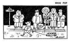 Caricatura de MIHAI POP, publicata in almanahul PERPETUUM COMIC '97 editat de URZICA, revista de satira si umor din Romania