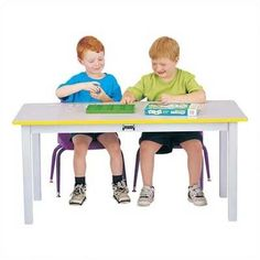 "Jonti-Craft Rainbow Accents 48"" x 24"" Rectangular Activity Table Side Finish: Yellow, Table Size: 22"" H"