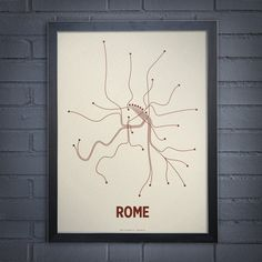 Items similar to Rome Lineposter Screen Print - Newsprint/Maroon on Etsy Cd Packaging, Metro Map, Solid Background, Map Art, Tech Accessories, Screen Printing, Original Artwork, Clock, Graphic Design