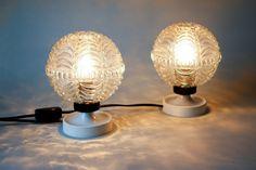 Vintage white tulip desk lamps panton style by LeKosmosBerlin