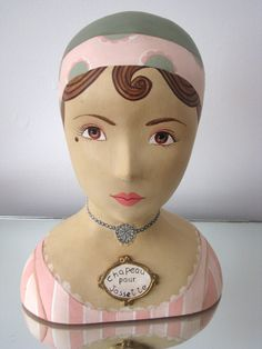 Female Mannequin Head Hat Stand - French Art Deco Style Hand Painted. $65.00, via Etsy.