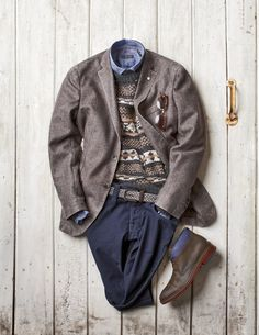 Washed Wool Jacket: Lubiam ($898) - made in italy Hand Knit Sweater: Muskoka Dry Goods ($495) - made in italy Washed Cotton Shirt: Corneliani ($278) - made in italy Braided Suede and Wool Belt: Anderson's ($155) - made in italy Mini Corduroy Pants: Nudie Jeans Co. ($199) - made in italy Two Tone Leather Desert Boot: Cole Haan ($255) - made in india Bi-Focal Sun Glasses: Eye Bobs ($75) - made in china