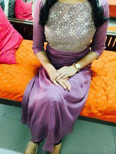 Custom made at Crystelle Boutique WhatsApp: ₹ 1000 Salwar Pattern, Kurta Patterns, Dress Patterns, Salwar Neck Designs, Churidar Designs, Blouse Designs, Indian Designer Outfits, Indian Outfits, Casual Dresses