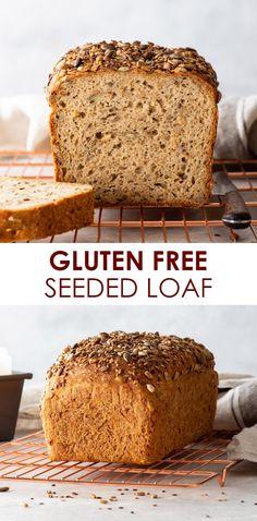 Gluten Free Seed Bread Recipe, Dairy Free Bread, Vegan Bread, Gluten Free Baking, Gluten Free Desserts, Gluten Free Homemade Bread, Gluten Free Breads, Healthy Gluten Free Bread, Gluten Free Artisan Bread