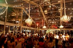 """""""Southern Chic"""" themed party inside a lucite tent -- chandeliers inside a tent!"""